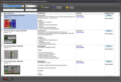 Online Update Rennbildschirme